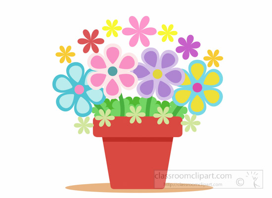 Beautiful Colourful Flower Pot Clipart